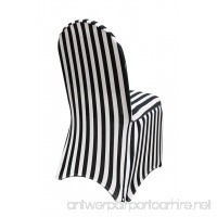 YCC Linen - Stretch Spandex Chair Cover Striped - Black and White - B00YWDKCBI