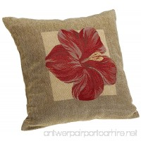 Brentwood Panama Jacquard Chenille 18-by-18-inch Knife Edge Decorative Pillow  Red Hibiscus - B000MGD8X8