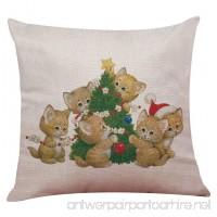 Cotton Linen Pillow Office Nap Pillow Christmas Cartoon Cat Dog Pattern - B07B3PX75G
