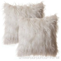 """Faux Fur Throw Pillow 18""""x18"""" With Insert (2 PACK)  Mongolian Long Hair White - B076M9P7BR"""