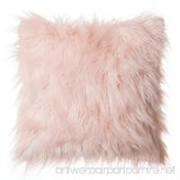 "Faux Fur Throw Pillow 18""x18"" With Insert  Mongolian Long Hair Pink - B076MB2Q97"