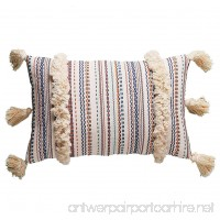 "FLBER Decorative Lumbar Pillow Tassel Textured Woven Sham 12""X20"" - B07CMW8P5T"