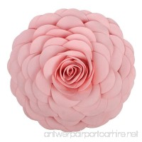 KING Rose Handmade 3D Flower Decorative Throw Pillow Wool Cushion for Bed Living Room 14 Inches Round Pink - B075F4Z4LT