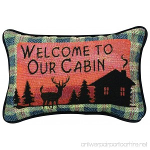 Manual Bear Lodge Throw Pillow 12.5 X 8.5-Inch Welcome to Our Cabin - B00D3DCKHW