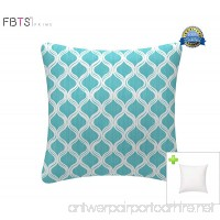 Outdoor Decorative Pillows with Insert Blue Patio Accent Pillows Throw Covers 18x18 Inches Square Patio Cushions for Couch Bed Sofa Patio Furniture - B076GYBTZF