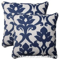 Pillow Perfect Indoor/Outdoor Bosco Corded Throw Pillow  18.5-Inch  Navy  Set of 2 - B00BPU7476