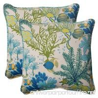 Pillow Perfect Indoor/Outdoor Splish Splash Corded Throw Pillow  18.5-Inch  Blue  Set of 2 - B00BPUBIKU