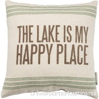 Primitives by Kathy Vintage Flour Sack Style the Lake Is My Happy Place Throw Pillow 15-Inch Square - B01EI6M55E