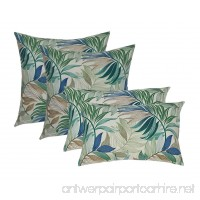 Set of 4 Indoor Outdoor Pillows 2 Square Pillows & 2 Rectangle Lumbar Decorative Throw Pillows - White Blue Teal Green Tan Tropical Palm Leaf - Choose Size (17X17 square & 12X20 lumbar) - B0186D9SPA