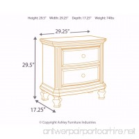 Ashley Furniture Signature Design - Demarlos Nightstand - 2 Drawers - Vintage Casual - Parchment White - B01ERJFCPM