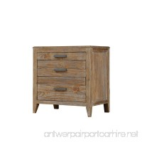 Emerald Home Torino Weathered Brown Nightstand with Three Drawers And Brushed Nickle Hardware - B06XH3LL4F