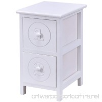Giantex White Wooden Bedside Table Nightstand Cabinet Bedroom Furniture Storage Drawers (2 Drawers) - B07438T319