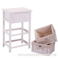 JAXPETY White Night Stand 3 Tiers 1 Drawer Bedside End Table Organizer Wood W/2 Baskets (White) - B074M9ZNV1