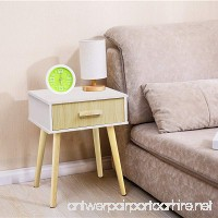 Jerry & Maggie - Nightstand Modern Fashion 4 Thin Long Legs Space Station - 1 Tier Cubic Night Stand Storage Bedside Table with 2 Drawer Real Natural Paulownia Wood | White & Wood Drawer - B078SL4PKL