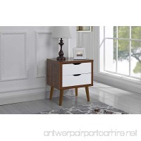 Mid Century Modern Nightstand/Side Table with 2 Drawers (Brown/White) - B076P176KJ