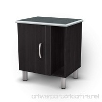 South Shore Cosmos 2-Shelf Nightstand with Cabinet Door and Open Storage Black Onyx and Charcoal - B003FGWXX8