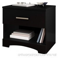 South Shore Gramercy 1-Drawer Nightstand  Pure Black with Metal Handle - B072Q4L5BL