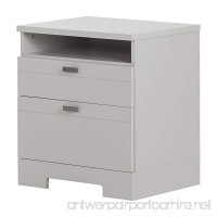 South Shore Reevo 2-Drawer Nightstand  Soft Gray with Matte Nickel Handles - B01LYTOGNJ