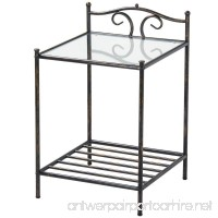 Topeakmart 2 Tier Metal Night Stand Antique Bedside Table Top Glass Shelf Storage - B0779NRFB8