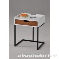 "White Finish / Dark Oak Drawer / Metal Frame Nightstand Side End Table 22.5""H - Modern Mid-Century Style - B07B1P9T95"