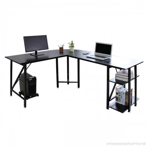 Bizzoelife 67 57 Large L Shaped Corner Desk Computer Gaming Table With Two
