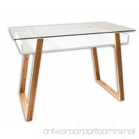 bonVIVO Writing Desk MASSIMO  Contemporary Desk Combining Glass And Wood  Modern Desk With Bamboo Legs And White Glazed Shelf  Usable As Computer Desk  Office Desk  Secretary Desk Or Vanity Desk - B01K4I1SPI