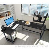 ELEVENS Modern L-Shaped Corner Desk Computer Office PC Laptop Table Home Office Study Table Workstation  Black - B076GWV1TS