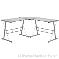 Flash Furniture Glass L-Shape Computer Desk with Silver Frame Finish - B00VTQSHPE