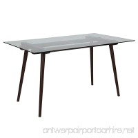 Flash Furniture Meriden 31.5'' x 55'' Solid Espresso Wood Table with Clear Glass Top - B077G7RZCM