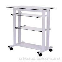 "HOMCOM 33"" Glass Top Mobile Home Office Computer Cart Desk - White - B016QV82PQ"
