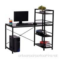 HOMCOM 50 Multi Shelf Tower Office Workstation Computer Desk - Black - B01B6XNZ10