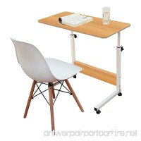 Jerry & Maggie - Adjustable Height Desk Laptop Desk Office Home Movable Table Bedside Lapdesk With 4 Wheels Flexible Wooden Stand Desk Cart Tray Side Table - Natural Wood Tone - B079C6JQYG