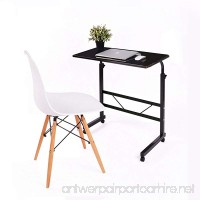 Jerry & Maggie - Adjustable Height Desk Laptop Movable Bedside Desk Table Lapdesk With 4 Wheels Flexible Wooden Stand Desk Cart Tray Side Table (Jet Black) - B079YXQSW9
