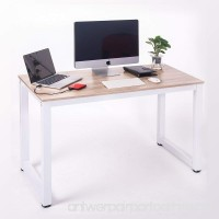 Merax Modern Simple Design Computer Desk Table Workstation for Home & Office (White and Oak) - B01M0LV1XN