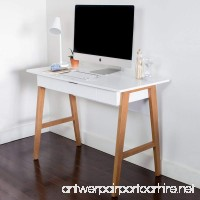Nathan James 51101 Telos Home Office Computer Desk with Drawer Or Makeup Vanity Table For Small Spaces White - B07889LS54