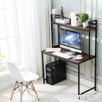 Office Desktop Laptop Computer Compact Desk with Storage  Home Study Writing Table with Shelf (Teak) - B07D6H18GV