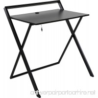 OneSpace Basics No Assembly Folding Desk with Dual USB Charger  Dark Brown/Black - B074T27NT4
