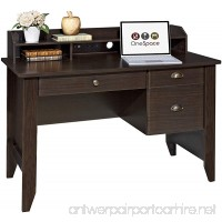 OneSpace Executive Desk with Hutch USB and Charger Hub Wood Grain Espresso - B01IVQHF9I