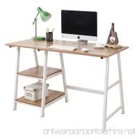 "Soges Computer Desk Trestle Desk Writing Home Office Desk Hutch Workstation with Shelf Oak 47"" CS-Tplus-120OK - B076F9XH18"