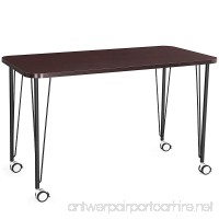 SONGMICS Computer desk  Study Table  Mobile Dining Table  Easy Assmblely  for Home and Office  Cappuccino  ULWD15CB - B079294X6Y