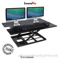 Standing Desk Converter-INNOVADESK 36-24 inches- Adjustable Standing desk – Sit Stand Desk Converter - Laptop Desk Riser- The Best Adjustable Standing Desk- Preassembled desk (Black) - B0758GQJQC
