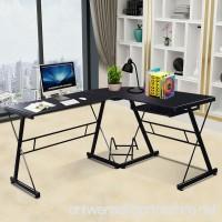 Tangkula L-Shaped Desk 3-Piece Corner Computer Desk PC Laptop Table Workstation Home Office Black (59) - B01HRMMQBE