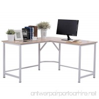 "TOPSKY Computer Desk 55"" x 55"" with 24"" Deep L-Shaped Desk Corner Workstation Bevel Edge Design(Oak) - B06XX2RJVS"