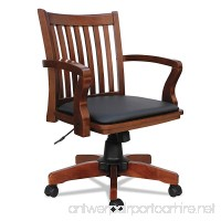 Alera ALEPC4299C Postal Series Slat-Back Wood/Leather Chair  Cherry/Black - B078WY2G1G