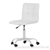 Annexe White Office Chair with Quilted Seat - Ergonomic Executive Office Chair - Mid Back Chair for Home Office by South Shore - B06X1872N5