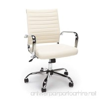 Essentials Soft Ribbed Leather Executive Conference Chair with Arms - Ergonomic Adjustable Swivel Chair  Ivory/Chrome (ESS-6095-IVY) - B074GX78W1