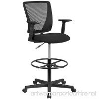 Flash Furniture Ergonomic Mid-Back Mesh Drafting Chair with Black Fabric Seat Adjustable Foot Ring and Adjustable Arms - B01NGYPYMG