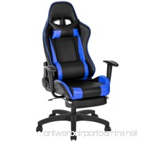 Gaming Chair Big and Tall JULYFOX Office Executive Chair Leather High Back Ergonomic 20 inch Extra Wide Lumbar Support Neck Pillow Upholstered Recliner Desk Chair Black and Blue - B07DNX7PQR