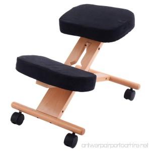 Giantex Ergonomic Kneeling Chair Wooden Adjustable Mobile Padded Seat and Knee Rest (Black) - B01M4OXDUB