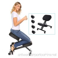 Modrine Ergonomic Kneeling Chair Perfect Adjustable Posture Stool for Home and Office with Thick Comfortable Moulded Foam Cushions Black (Black) - B0798P31S5
